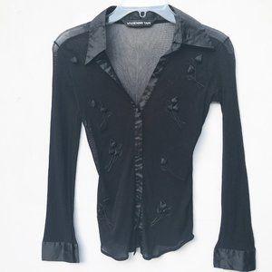VIVIENNE TAM sheer black Nylon Shirt top 4 small